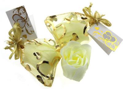 Huwelijksbedankje zeeproos goud-goud hartjes zakje