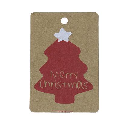 10 kraft labels kerst kraft kerstboom wit rood