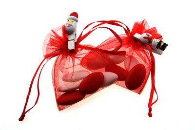 Bedankje kerst rood met knijpertje kerstman en sneeuwman