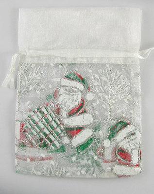 100 Organza zakjes 9 x 12 cm wit met kerstman