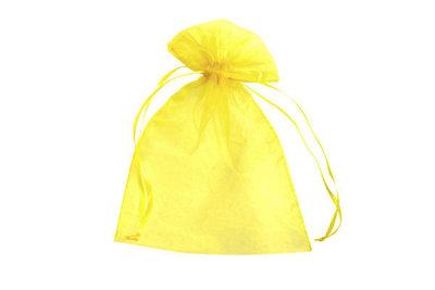 Organza zakjes 5 x 7 cm geel