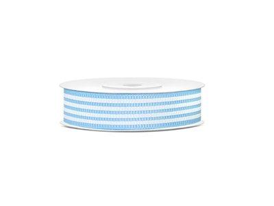Grosgrain 18 mm Licht blauw met witte streep