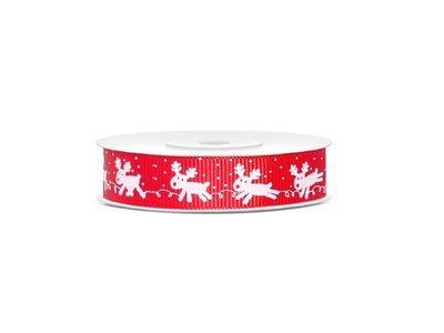 Kerstlint grosgrain 15 mm Rudolph