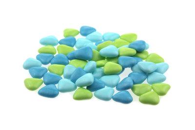 Doopsuiker hartvormig mini mix aqua - licht blauw - lime groen
