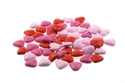 Doopsuiker hartvormig mini mix fuchsia - licht roze - rood