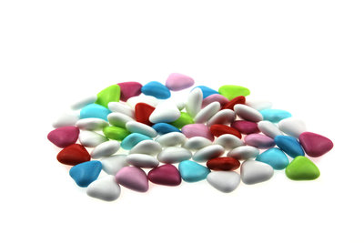 Doopsuiker hartvormig mini mix multicolour wit