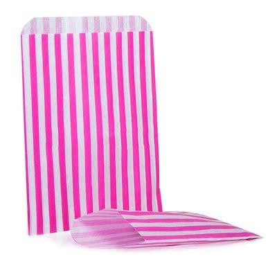 10 papieren zakjes wit fuchsia roze gestreept