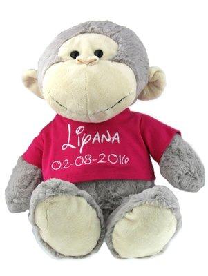 Geboorteknuffel aap met naam en geboortedatum