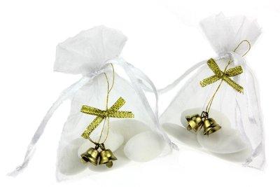 Bedankje kerstbelletjes goud met goud strikje