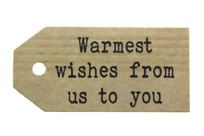 Kraft label warmest wishes from us to you