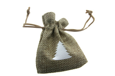 Jute zakjes naturel kerstboom wit