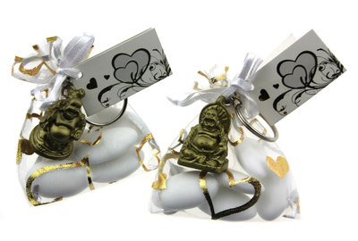 Bedankjes organza zakje bruidsuiker met gouden boeddha sleutelhanger