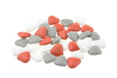 Bruidsuiker hartvormig mini mix wit rood grijs