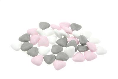 1 kilo Bruidsuiker hartvormig mini mix wit - roze - grijs