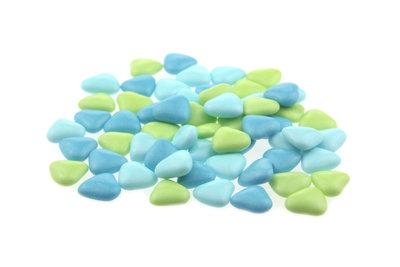 1 kilo Bruidsuiker hartvormig mini mix licht blauw-aqua-groen