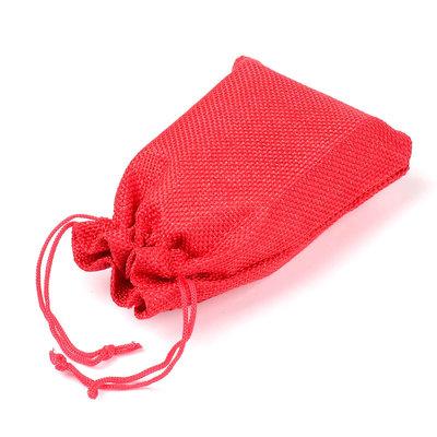 Jute zakje rood 9.5 x 13.5 cm