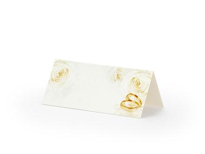 10 stuks tafel kaartje met ringen en rozen