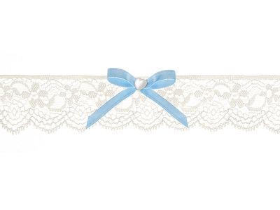 Kousenband ivoor kant licht blauw strikje