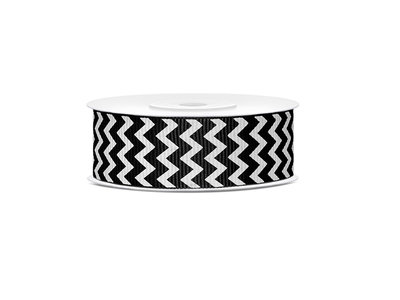 Grosgrain lint zwart-wit zigzag 25 mm breed