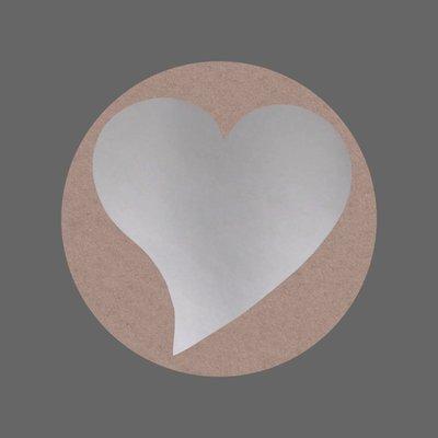 Ronde stickers zilver hartje 10 stuks
