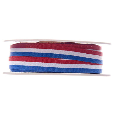 Rood wit blauw lint 10 mm breed