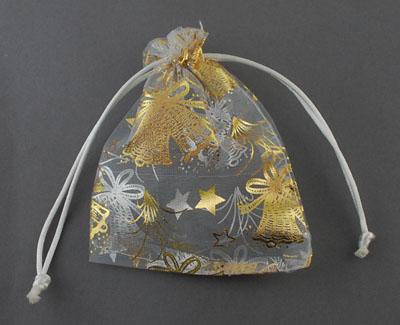 Organza zakjes kerst wit met goud klokken en sterren 10 x 12 cm