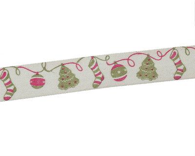 Kerstlint kerst boom, bal en sok 15 mm breed