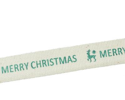 Kerstlint merry christmas en rendier 15 mm breed