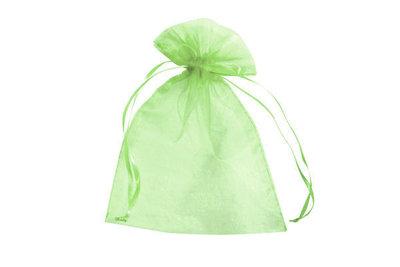 Organza zakjes 5 x 7 cm lime groen