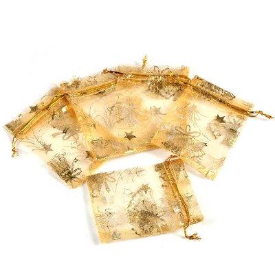Organza zakjes kerst goud met goud engeltje 7 x 9 cm
