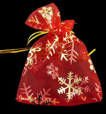 Organza zakjes kerst rood met goud ijskristal 10 x 12 cm