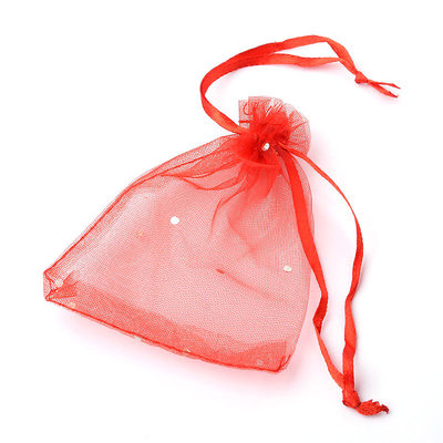 "Organza zakjes rood met ""diamantje"""