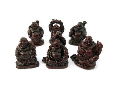 6 Lachende boeddha rood 3 cm