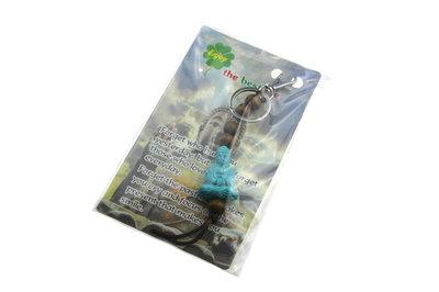 Sleutelhanger boeddha meditatiehouding turquiose met kraal