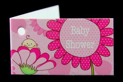 Kaartjes babyshower baby in bloem roze