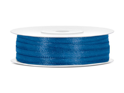 Blauw satijn lint 3 mm breed
