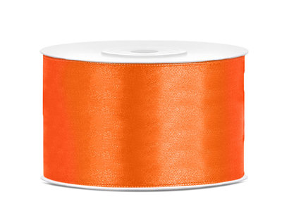 Oranje satijn lint 38 mm breed