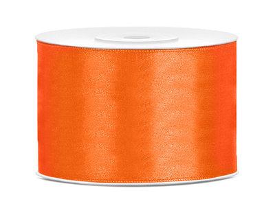 Oranje satijn lint 5 cm breed