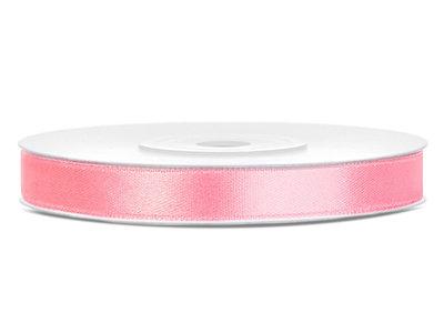 Roze satijn lint 6 mm breed
