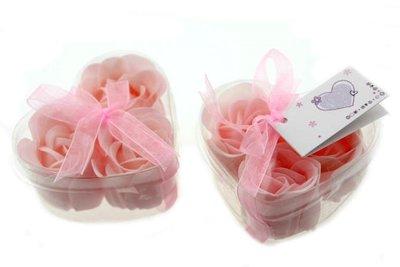 Bedankje hartje met 3 zeeprozen roze