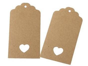 Kraft label 4 x 7 cm met geponst hartje 10 stuks