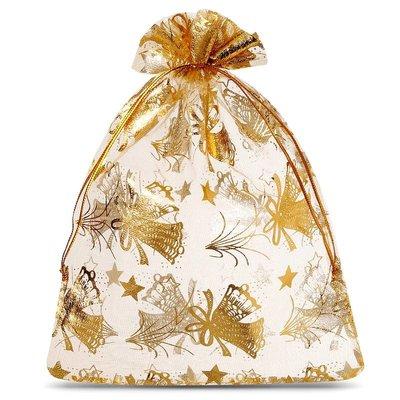 Organza zakjes kerst goud met goud opdruk 20 x 30 cm