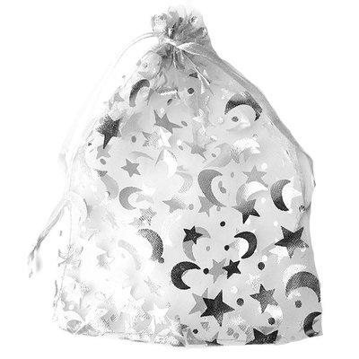 Organza zakjes kerst wit met ster en maan 7 x 9 cm