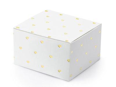 Wit doosje met goud metalic hartjes