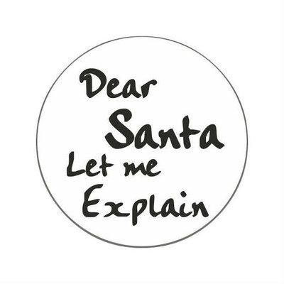 Ronde stickers Dear santa let me explain 10 stuks