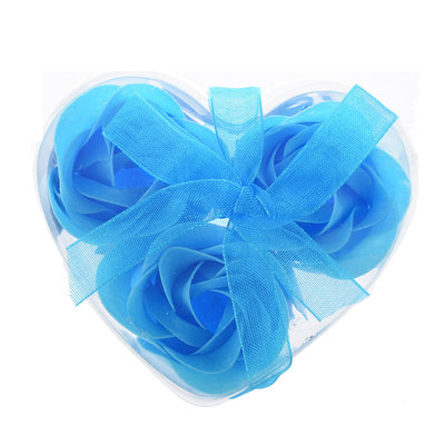 Bedankje hartje met 3 zeeprozen licht blauw