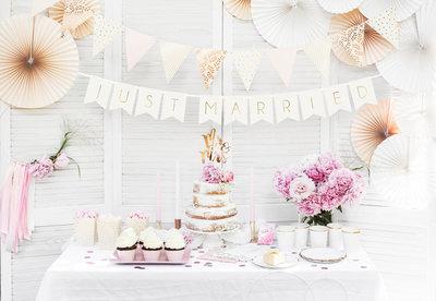 Slinger just married licht roze metalic goud bedrukt