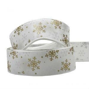 Kerstlint grosgrain wit ijskristal 25 mm breed