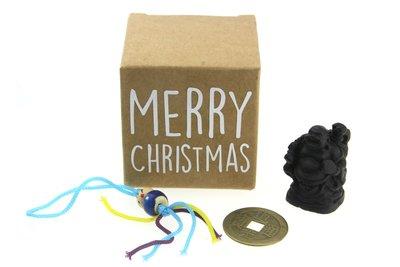 Kerstbedankje kraft kubusdoosje merry christmas