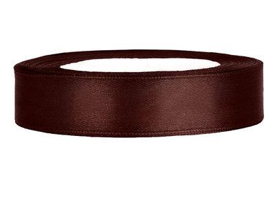 Satijn lint 1.5 cm breed bruin